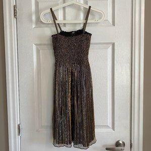 H&M Gold Shimmery Spaghetti Strap Mini Dress